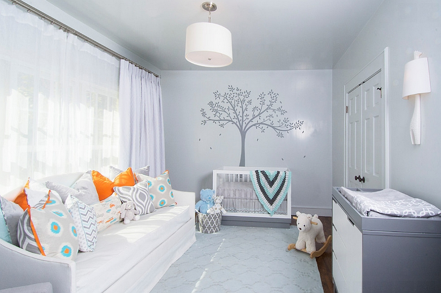 Orange grey and teal in the nursery decoist for Teal and gray bathroom ideas