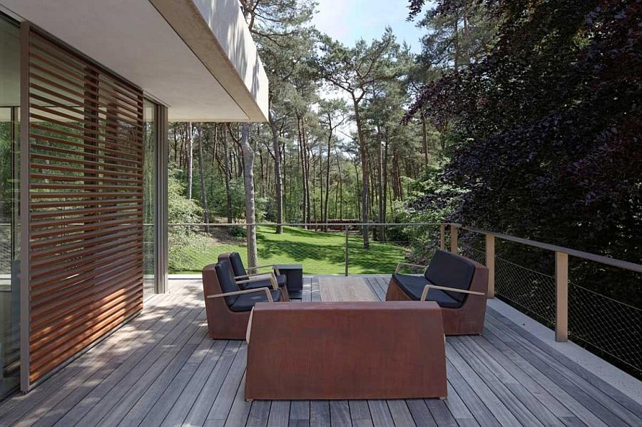 Outdoor deck space from the top level overlooking the greenery