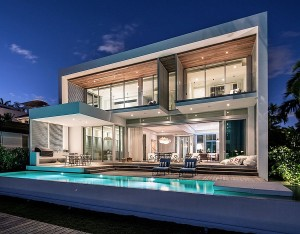 Outdoor lounge and pool area of the exclusive Miami beach house