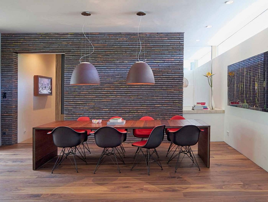 Oversized pendant lights above the dining table
