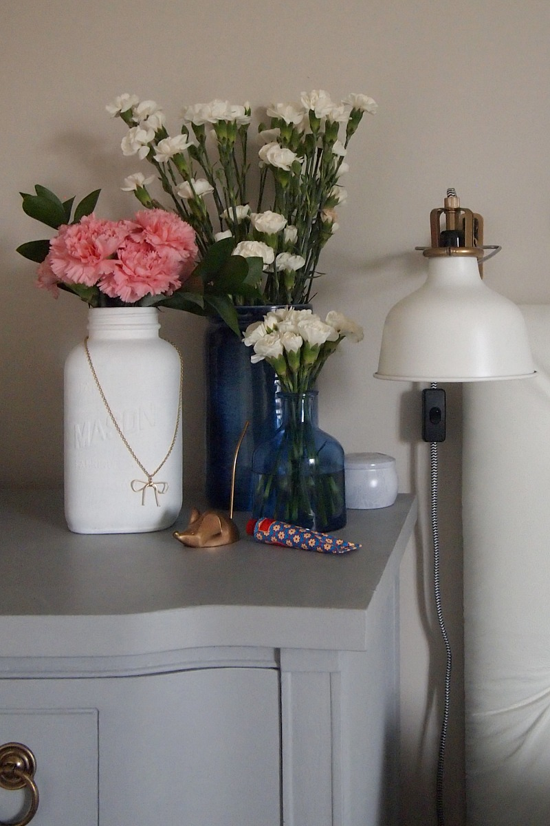 Painted mason jar bedside vase