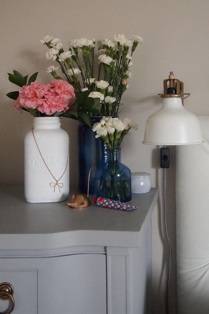 Painted mason jar bedside vase
