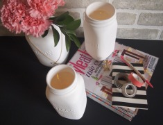 Painted mason jar candle holders