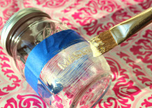 Painting Mason Jars with Gold