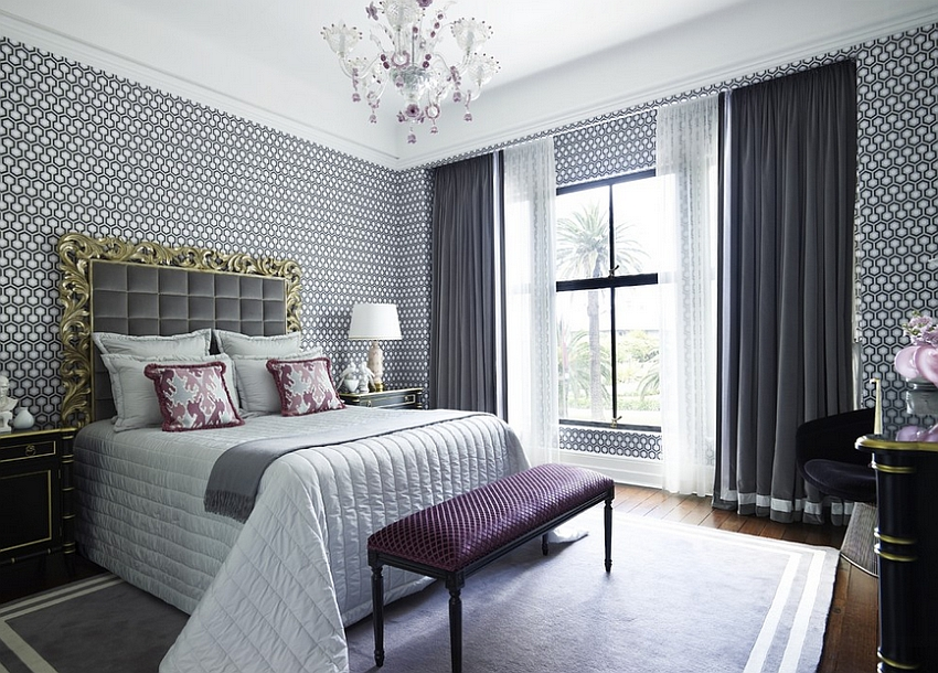Perfect way to add geometric pattern to your opulent bedroom [Design: Greg Natale]