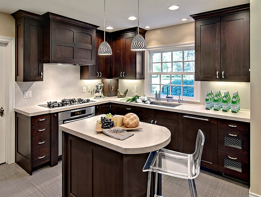 24 tiny island ideas for the smart modern kitchen for Small kitchen black cabinets