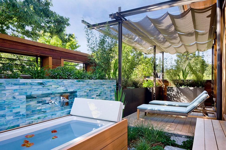 Posh bathtub turns the porch into a private spa! [Design: Cathy Schwabe Architecture]