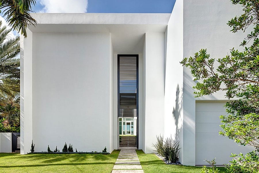 Private entrance to the fabulous Miami Beach House Lavish Contemporary Miami Residence with a Coastal Flavor