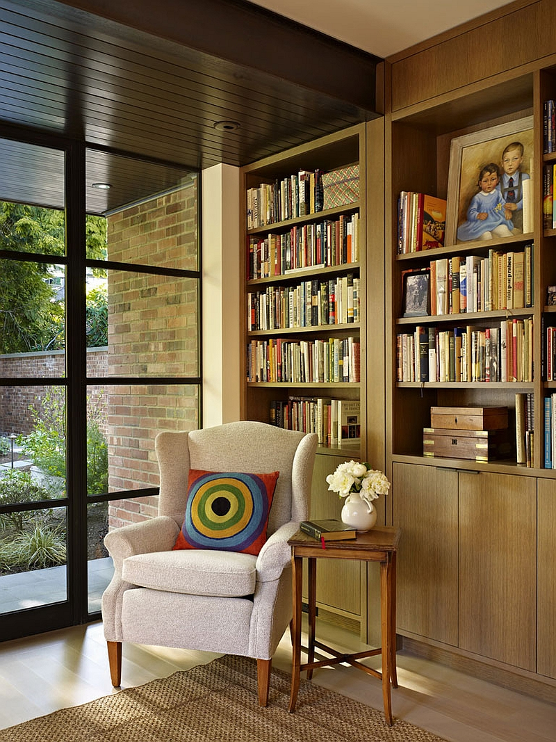 Quiet reading nook in the corner with garden views