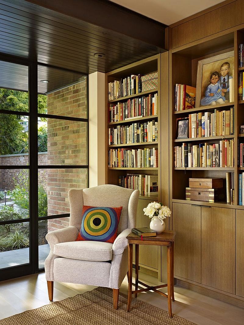 Quiet reading nook in the corner with garden views