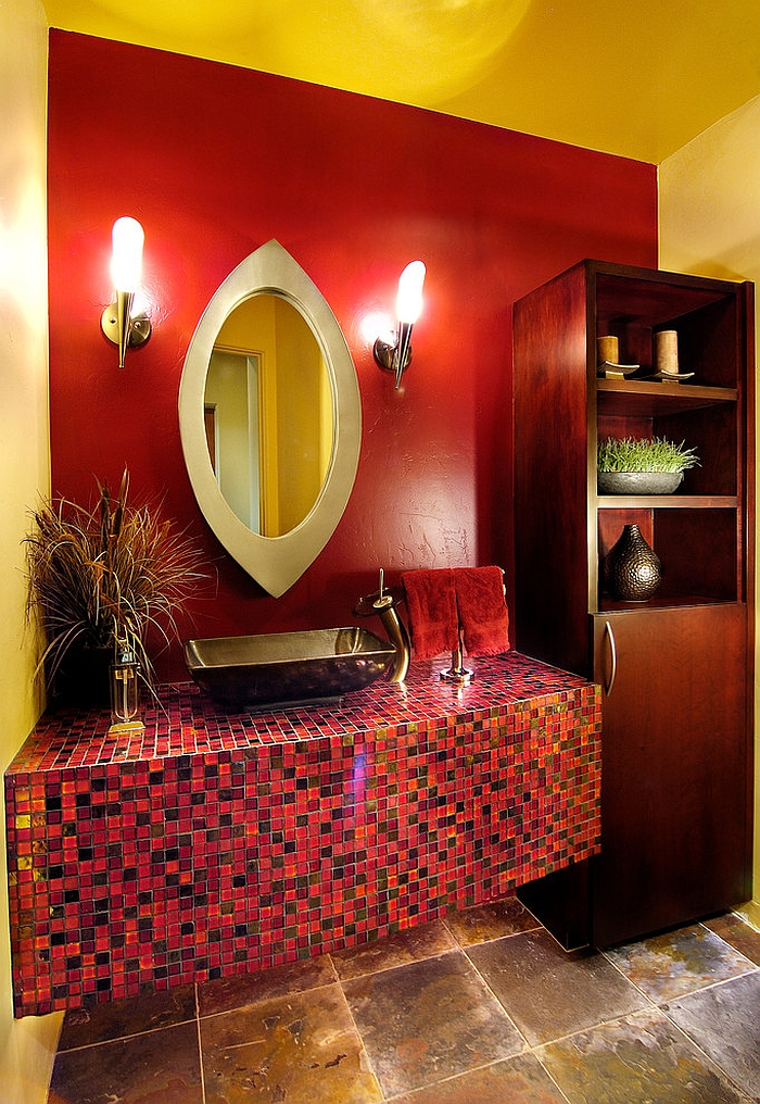 Red brings the wow factor to the small powder room [Design: Soloway Designs]