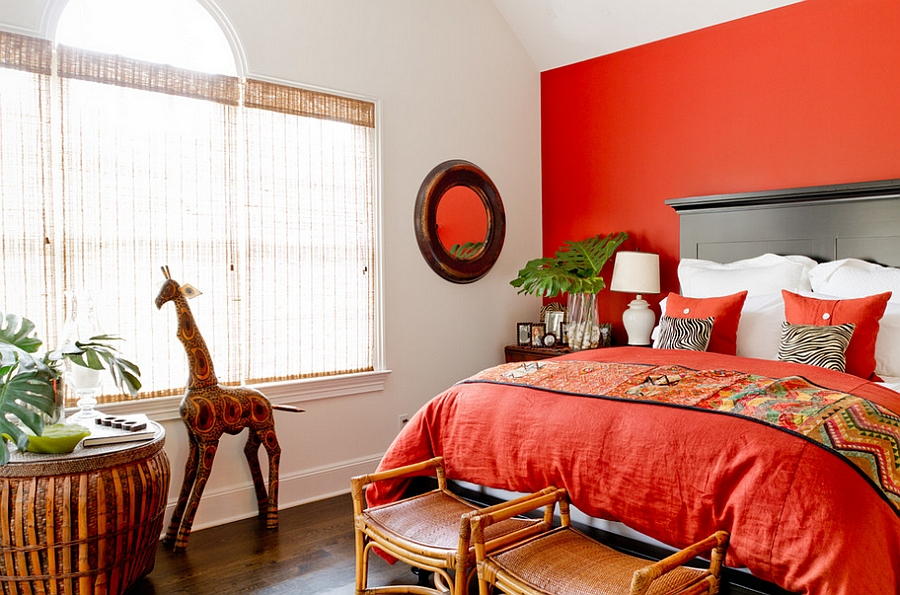 Red-orange wall infuses the room with energy [Photography: Rikki Snyder]