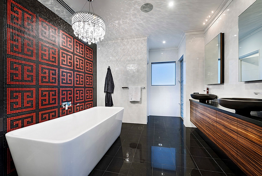 Red pattern brings the elegant bathroom alive [Design: Residential Attitudes]