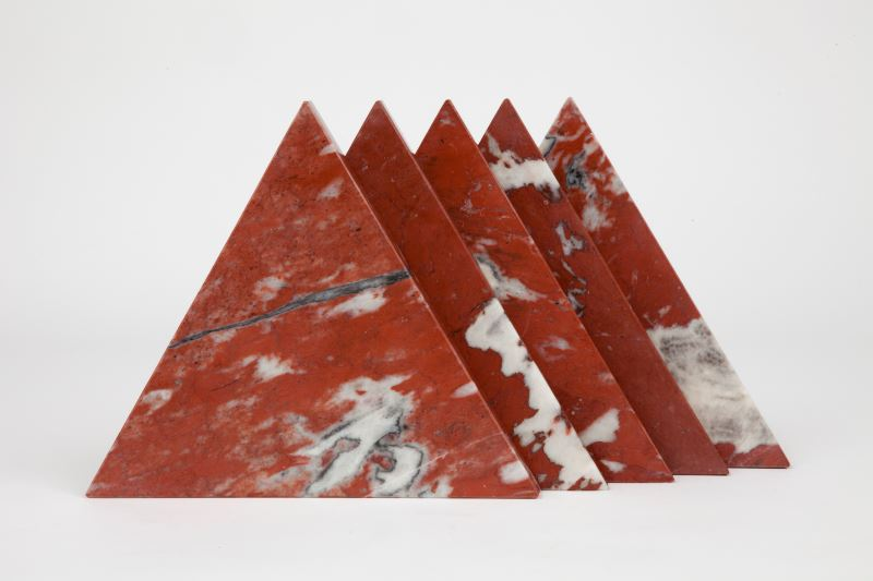 Red triangular marble trivets