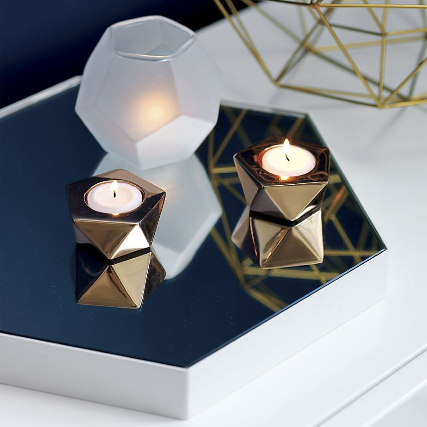 Rose gold geo candleholders