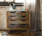 Rustic chest of drawers made from reclaimed painted wood