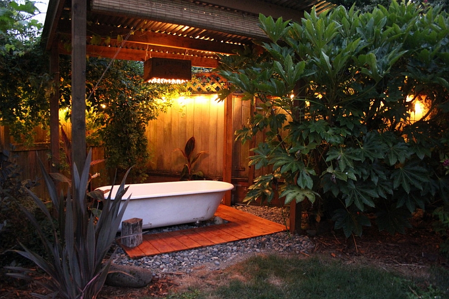Salvaged bathtub at the heart of a lovely backyard spa! [Design: Swell Done]