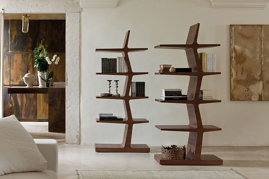 Sculptural and trendy design of Zeus bookshelves 5 Trendy Modern Bookshelves That Unleash Warmth Of Wood!
