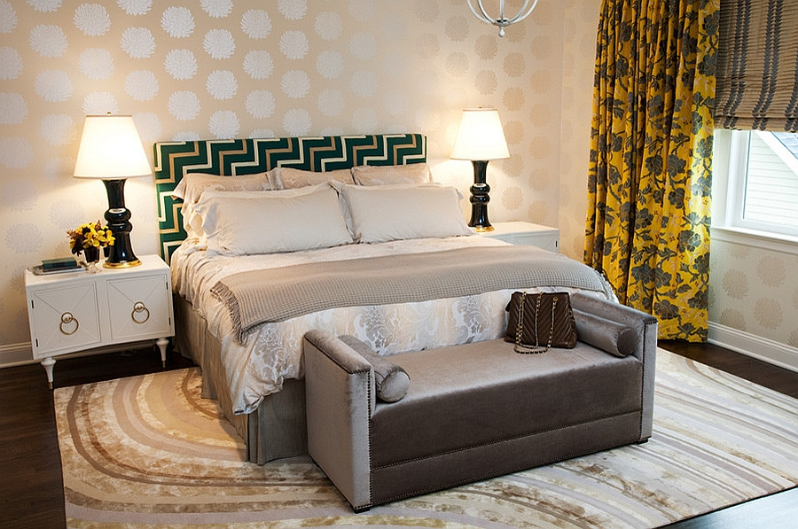 Seat at the end of the bed brings luxury to the bedroom