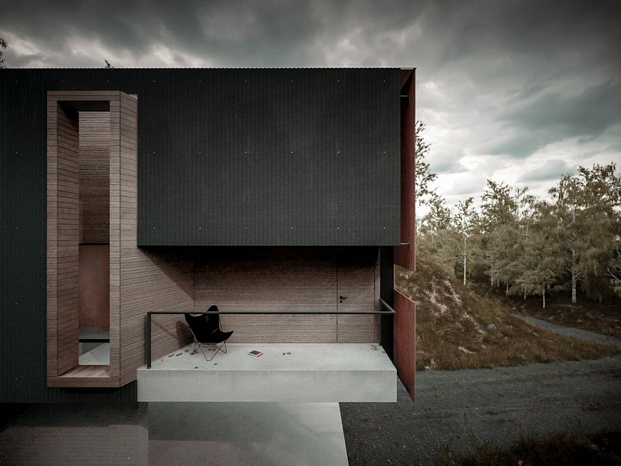 Secluded outdoor social room crafted using concrete
