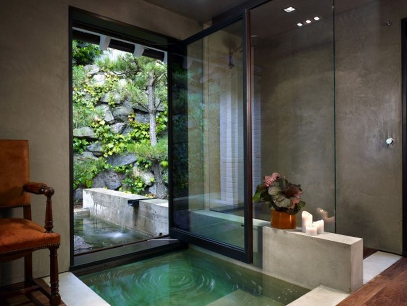 Serene water feature in the powder room