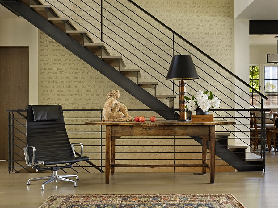 Simple and elegant home workstation next to the staircase