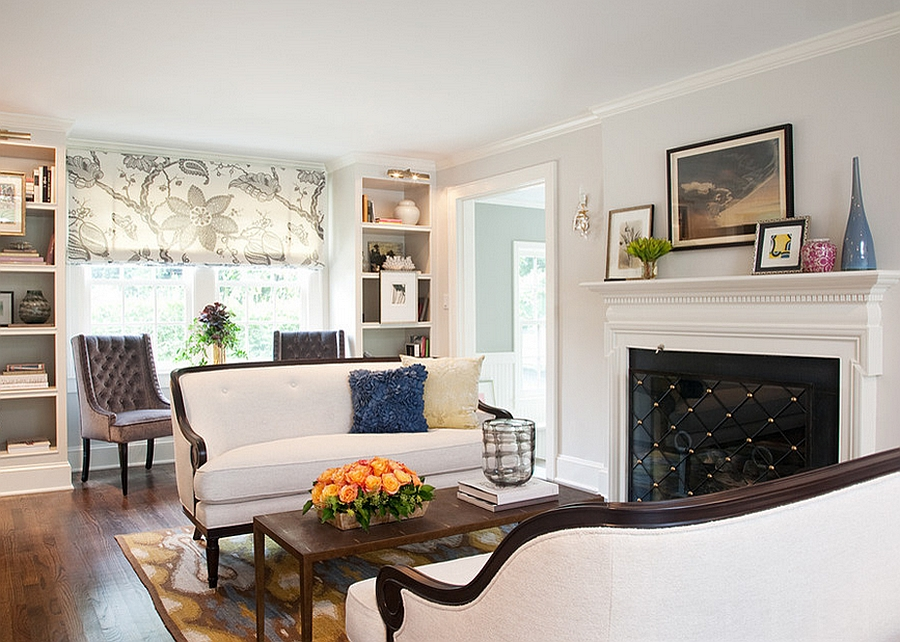 Simple and stylish family room with a cozy fireplace