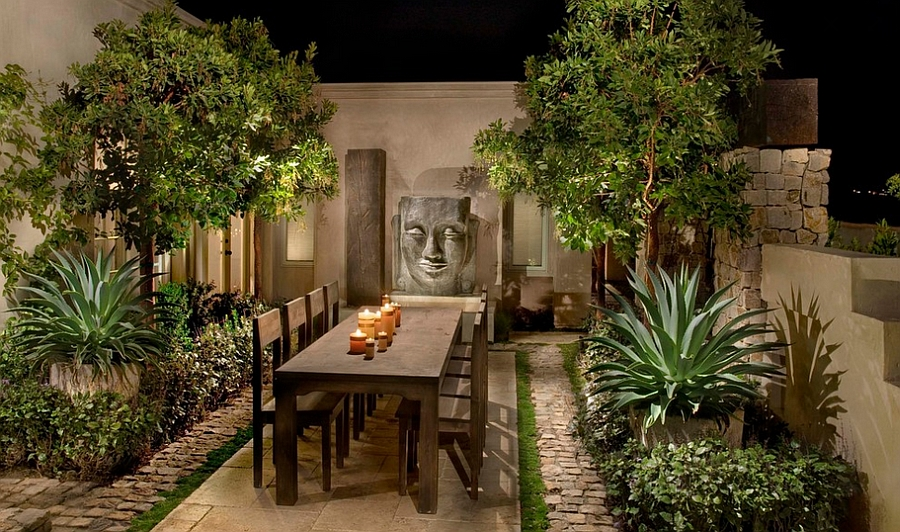 Simple and stylish outdoor dining space with an Asian theme [Photography: Andrew R. Abrecht]