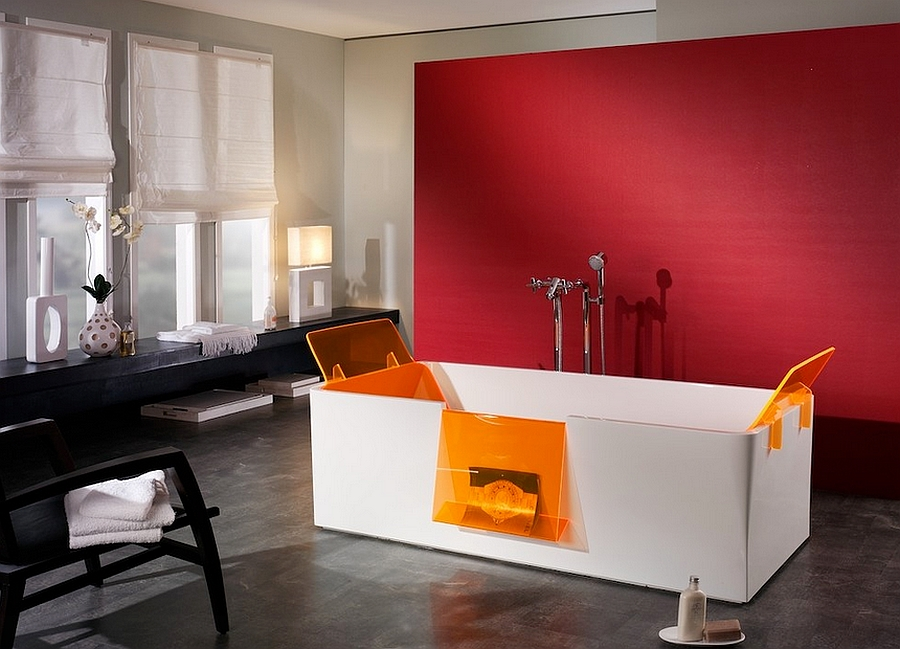 Simple, effective red accent wall in the minimal bathroom [Design: PSCBath]