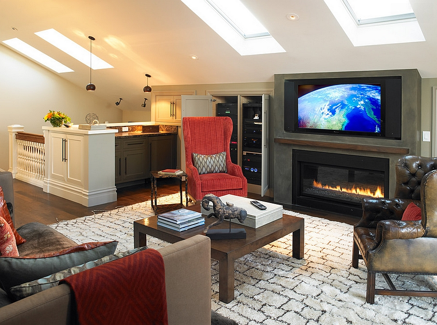 Skylights and a hint of color enliven this attic living space