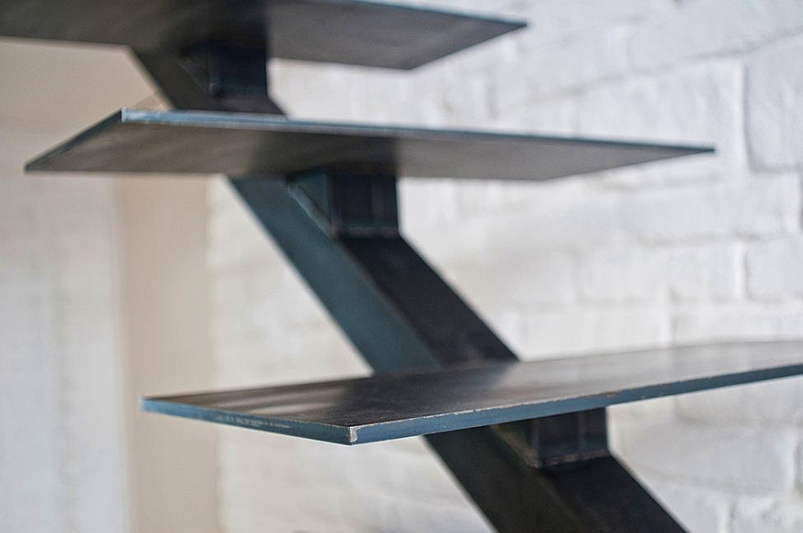 Sleek and stylish staircase leading to the loft level