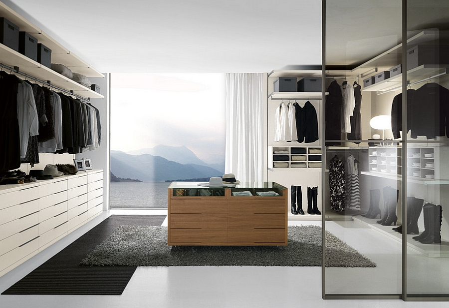 Sliding glass doors help visually connect the wardrobe with the bedroom