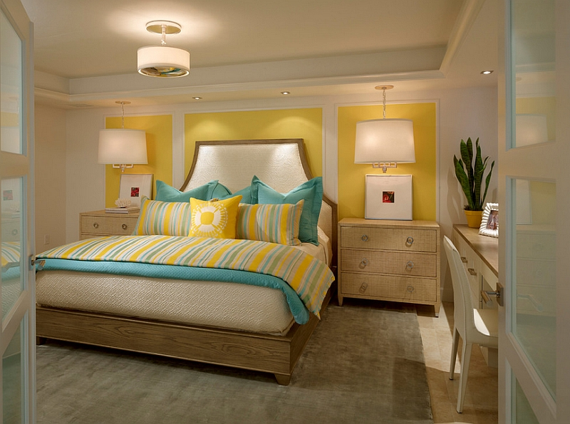 Small and chic bedroom in yellow and turquoise [From: Laura Miller Interior Design]