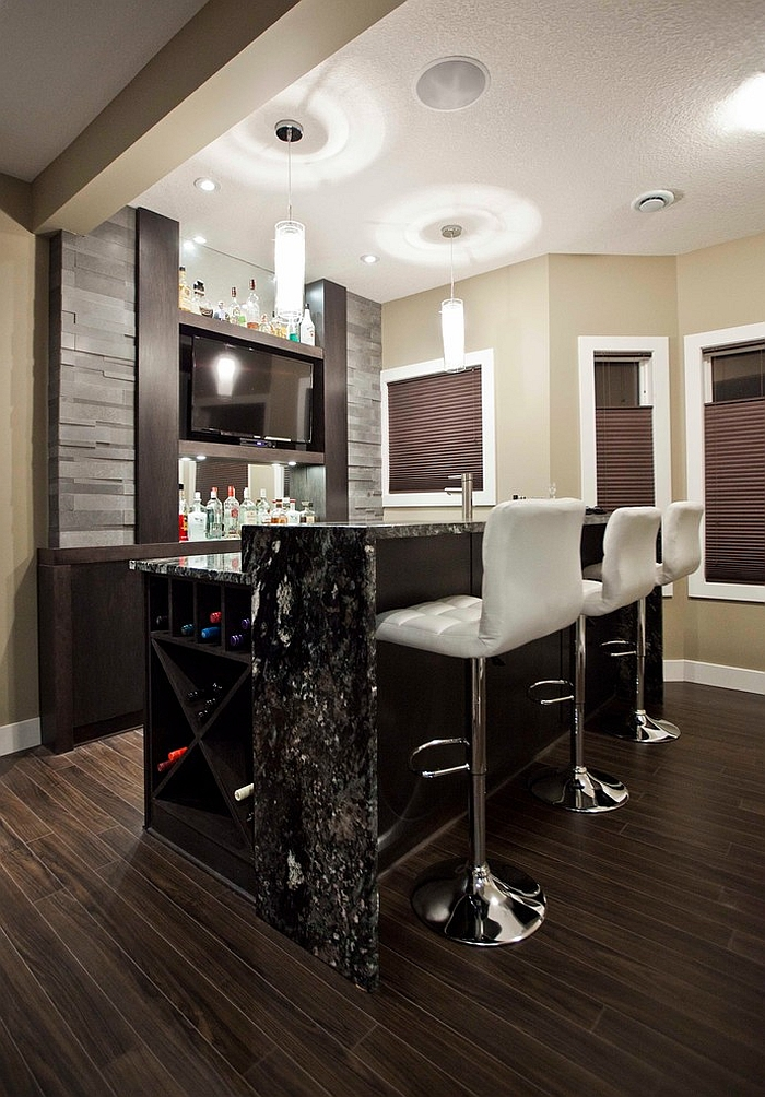 Basement Designs Part - 41: View In Gallery Small Contemporary Basement Bar Design [Design: Urban Abode]