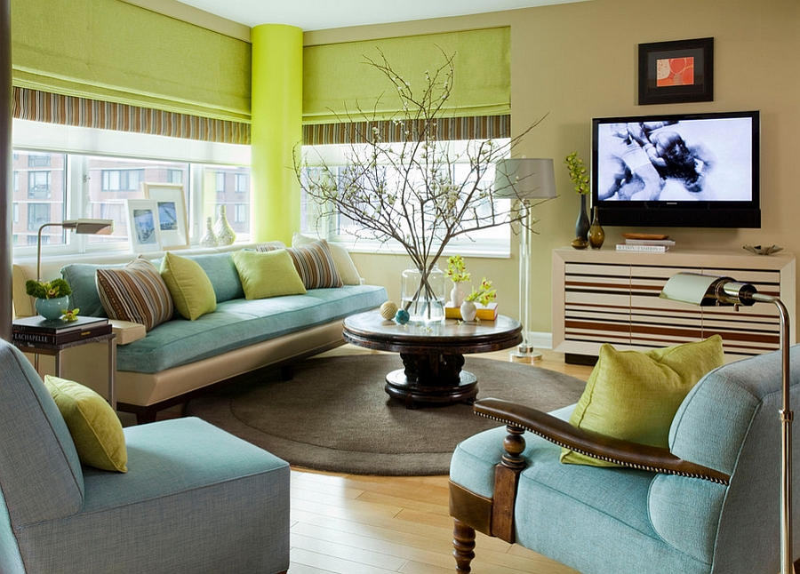 Small living room in blue and green [Design: Willey Design LLC]
