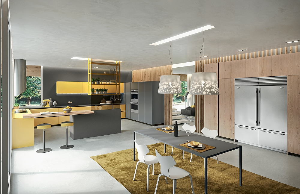 Smart dining area and kitchen composition in yellow and grey
