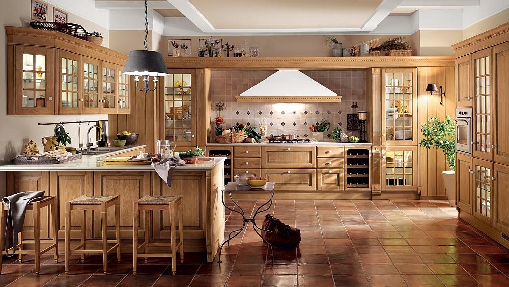 Smart modern kitchen crafted in antique natural oak