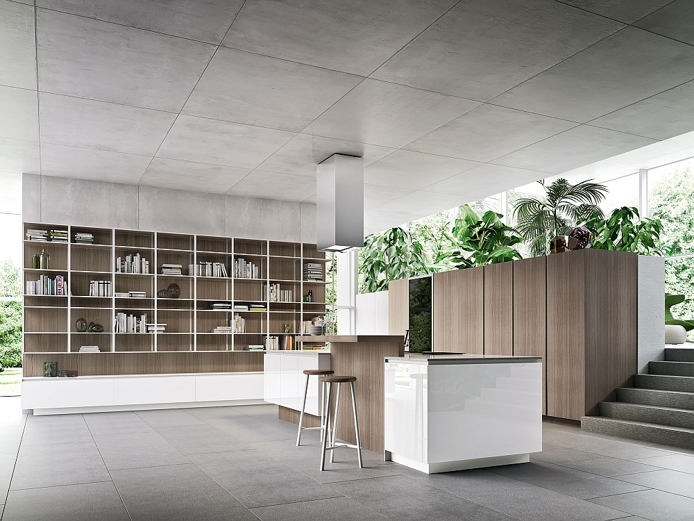 Smart modern kitchen in high-gloss arctic white and Mink elm wood