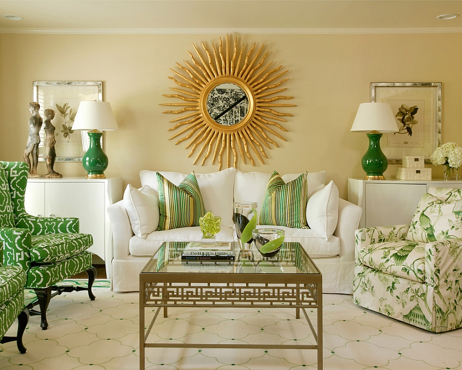 Smart use of symmetry to create a snazzy living room in green [Design: Tobi Fairley Interior Design]