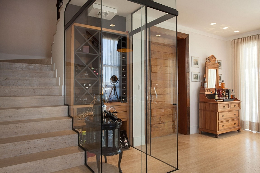 Smart wine cellar design next to the staircase