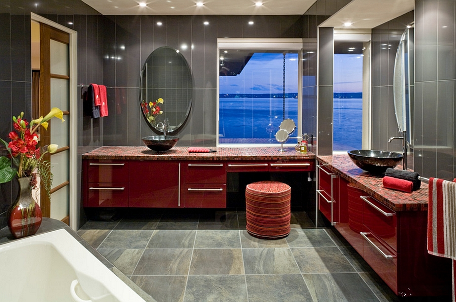 Sparkling contemporary bathroom in red and gray [Photography: Derek Lepper]