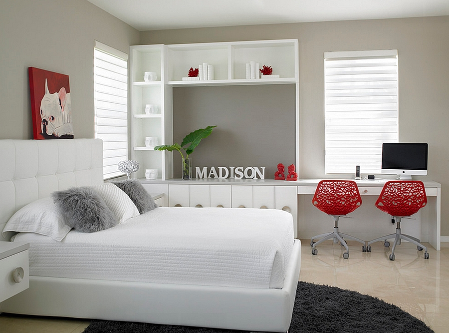 Splash of red in the bedroom [Design: Causa Design Group]