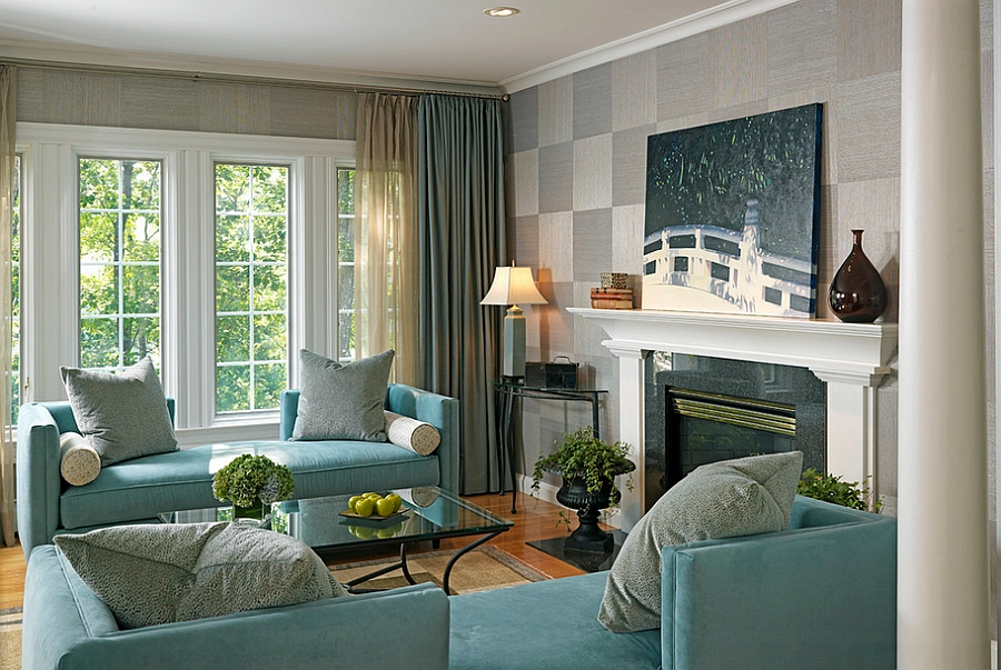 Squares of grasscloth applied in a checkboard pattern [Design: Laurie Gorelick Interiors]