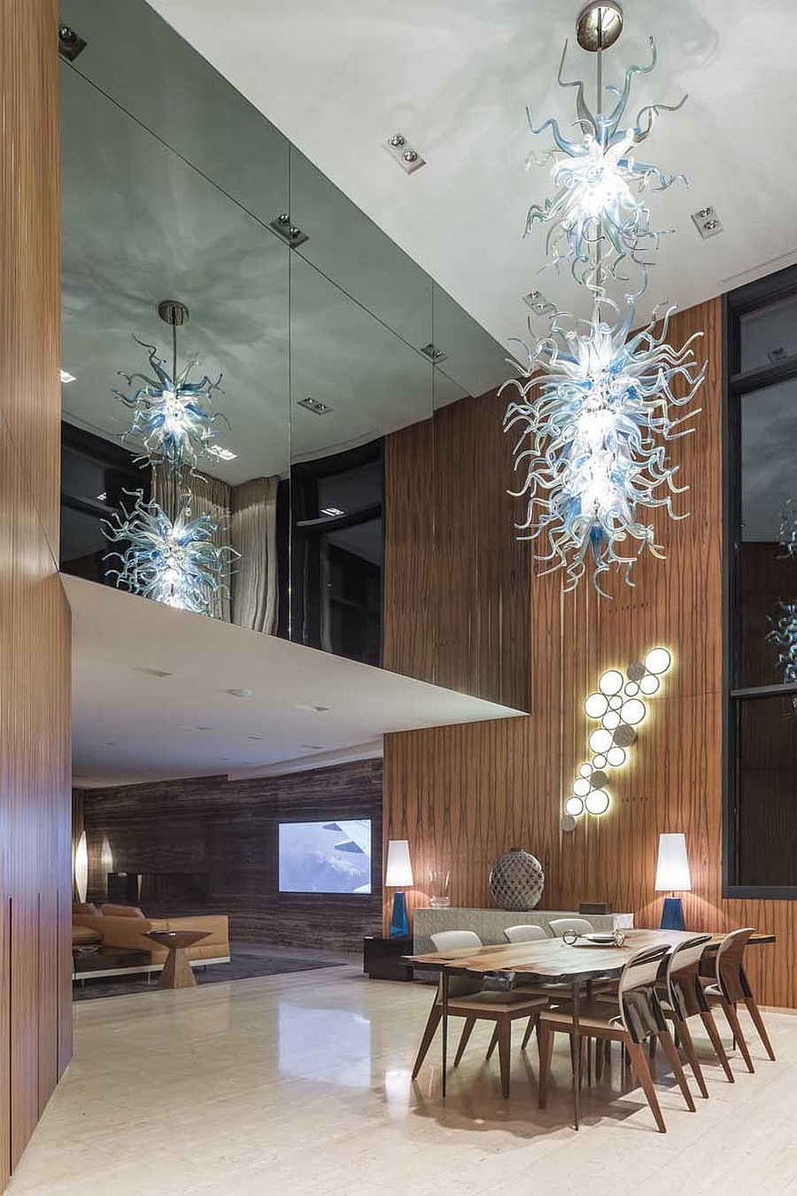 Stunning chandelier enlivens the dining area