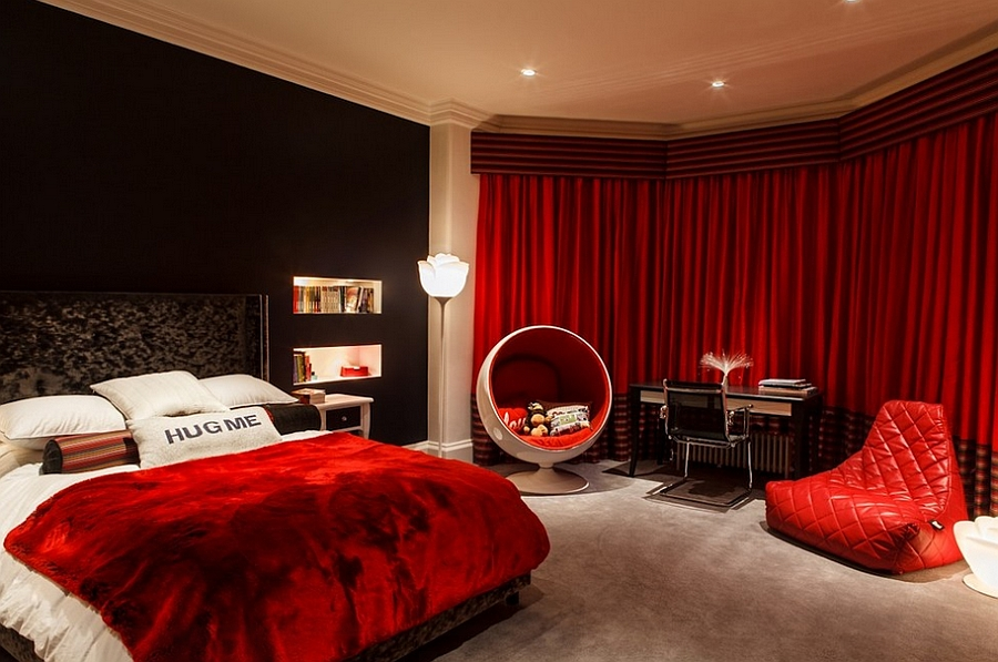 ... Stunning bedroom in red and black leaves you spellbound [Photography:  Charlotte Gale]