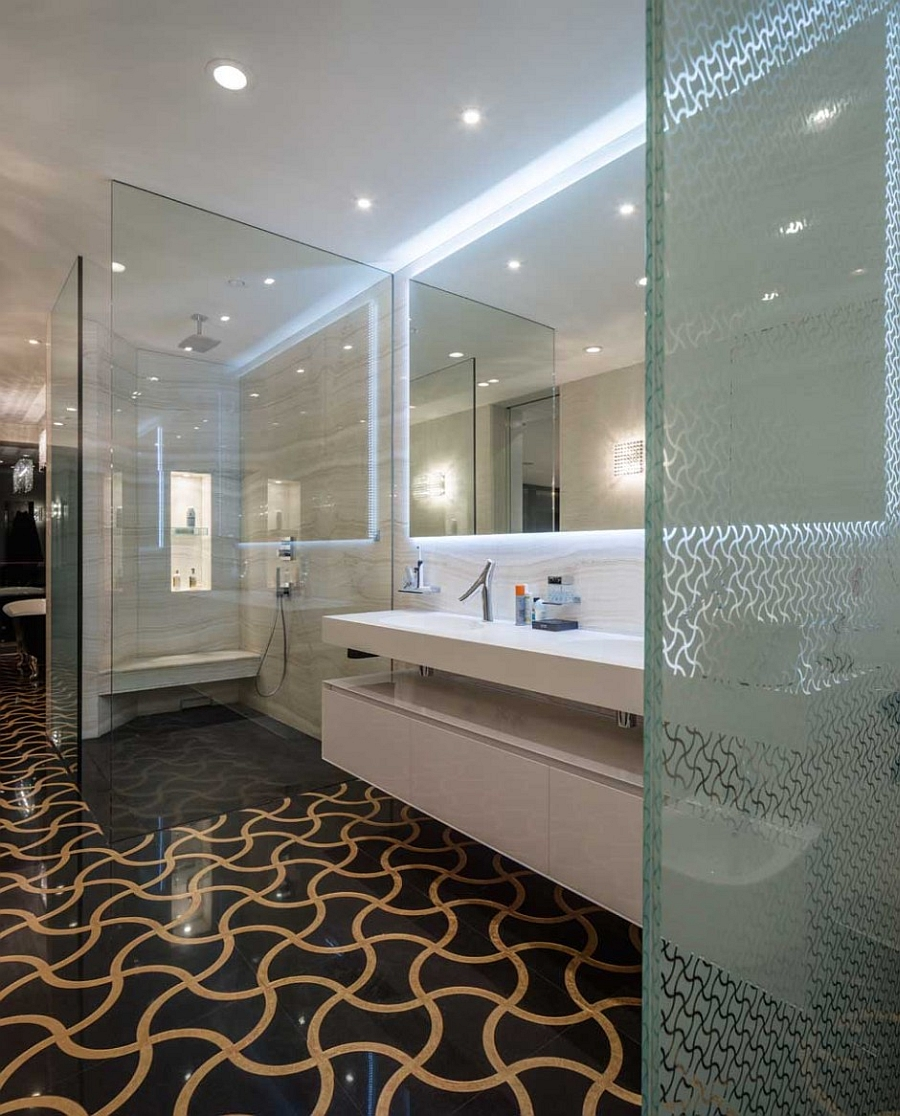Stylish bathroom with a patterned floor