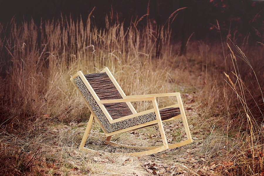 Stylish chair charfted from ash solid wood & willow