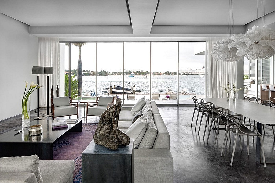 Stylish living area and dining space with ocean views