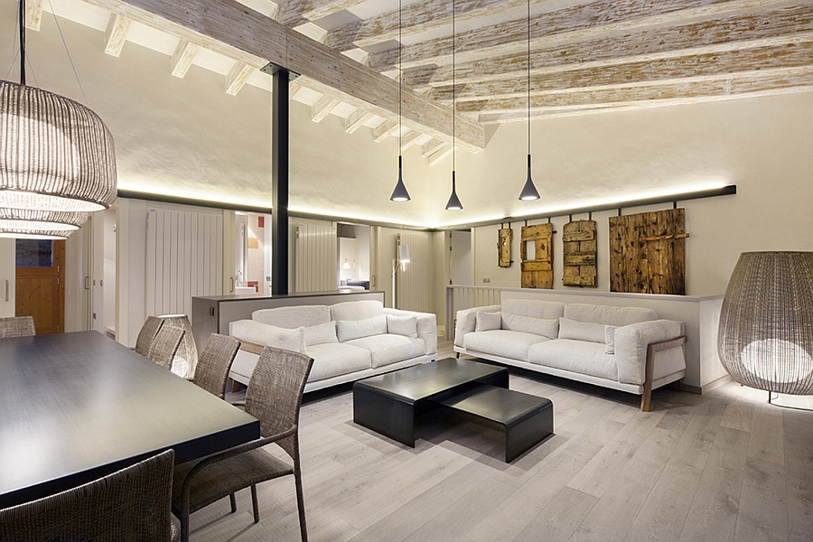 Stylish living space in white with a contemporary and rustic appeal