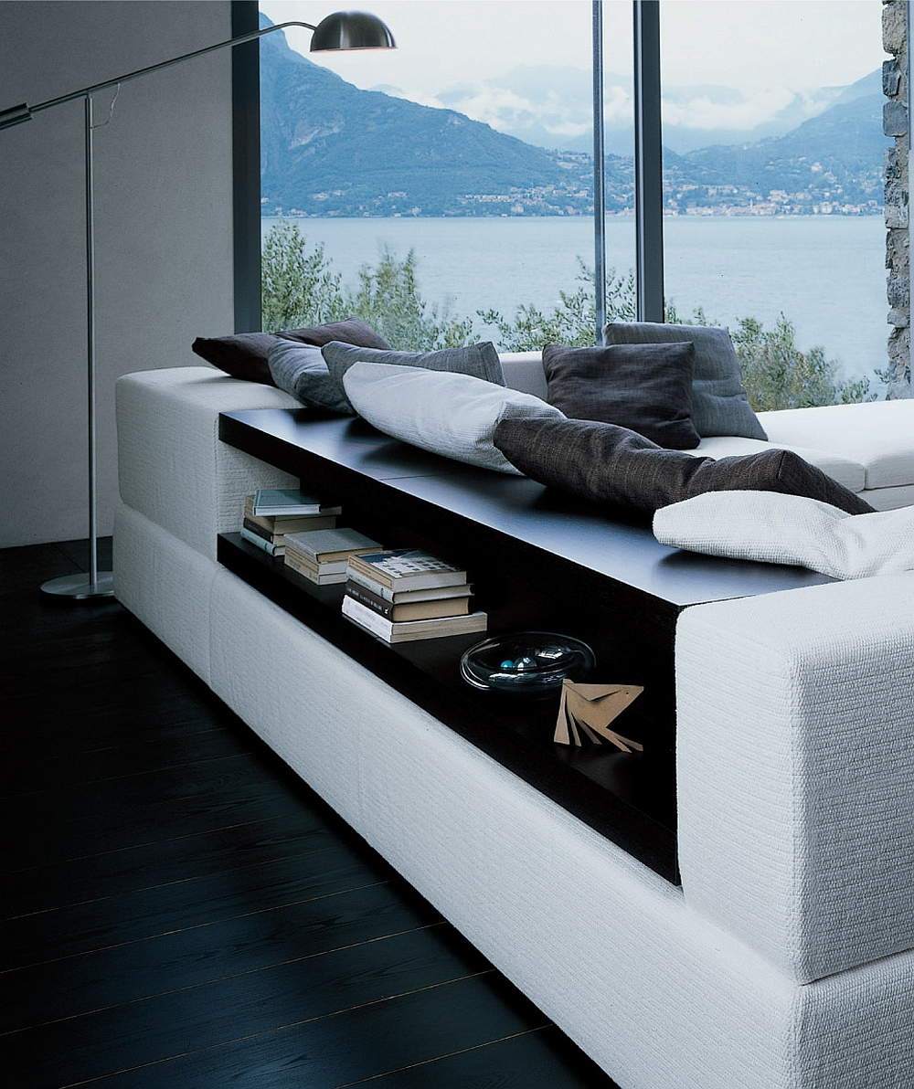 Stylish sectional also holds concealed shelf space
